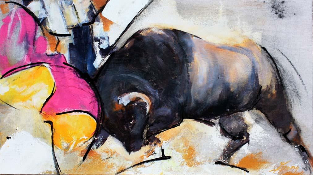 lucie llong tauromachie peinture d 39 un tor ro face un taureau par lucie llong. Black Bedroom Furniture Sets. Home Design Ideas